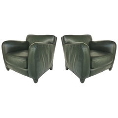 Donghia Leather Club Chairs from the Main Street Collection in Forest Green