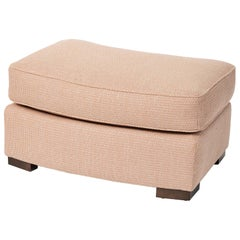 Donghia Noble Ottoman in Blush Pink Cotton Upholstery with Geometric Pattern