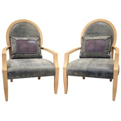 Donghia Pair of Elegant Lounge Chairs in Avodire, 1980s