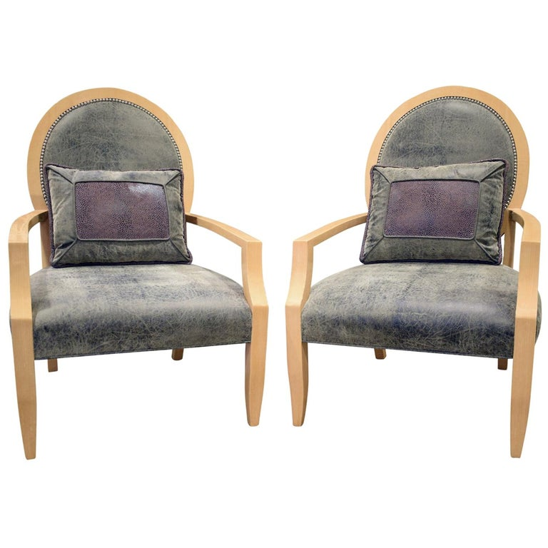 Donghia Pair of Elegant Lounge Chairs in Avodire, 1980s For Sale
