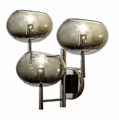 Donghia Renaldo Three-Arm Sconce, Murano Glass in Smoke and Chrome