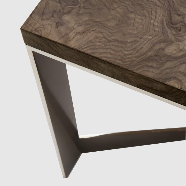 Modern Donghia Rex End Table in Olive Ash Burl and Antique Stainless Steel Finish For Sale