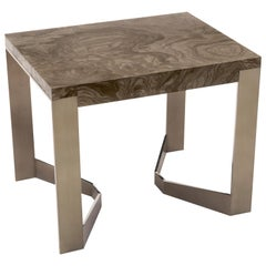 Donghia Rex End Table in Olive Ash Burl and Antique Stainless Steel Finish