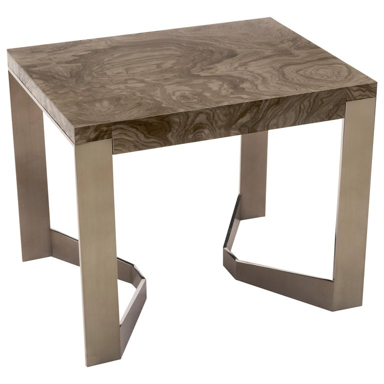Donghia Rex End Table in Olive Ash Burl and Antique Stainless Steel Finish For Sale