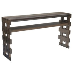 Donghia Rook Console Table in Sawn Walnut with Gray Finish