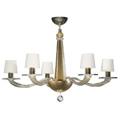 Donghia Stellare Short Chandelier, Murano Glass in Gold Dust with Drum Shades