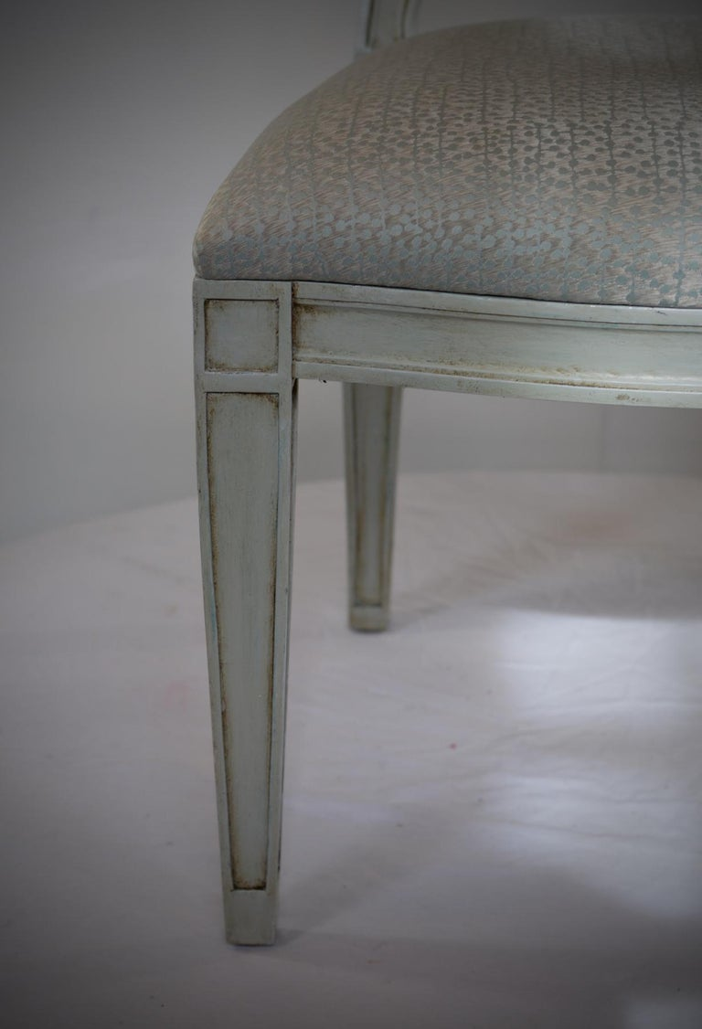 Linen Donghia Style Dining Chairs in a Painted Finish, Set of 6 For Sale