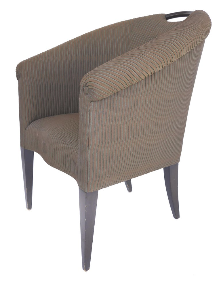 Modern Donghia Upholstered Club Chairs with Wood Handles For Sale