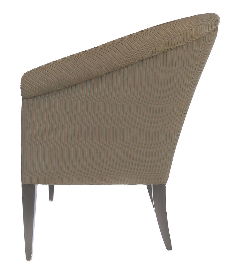 American Donghia Upholstered Club Chairs with Wood Handles For Sale