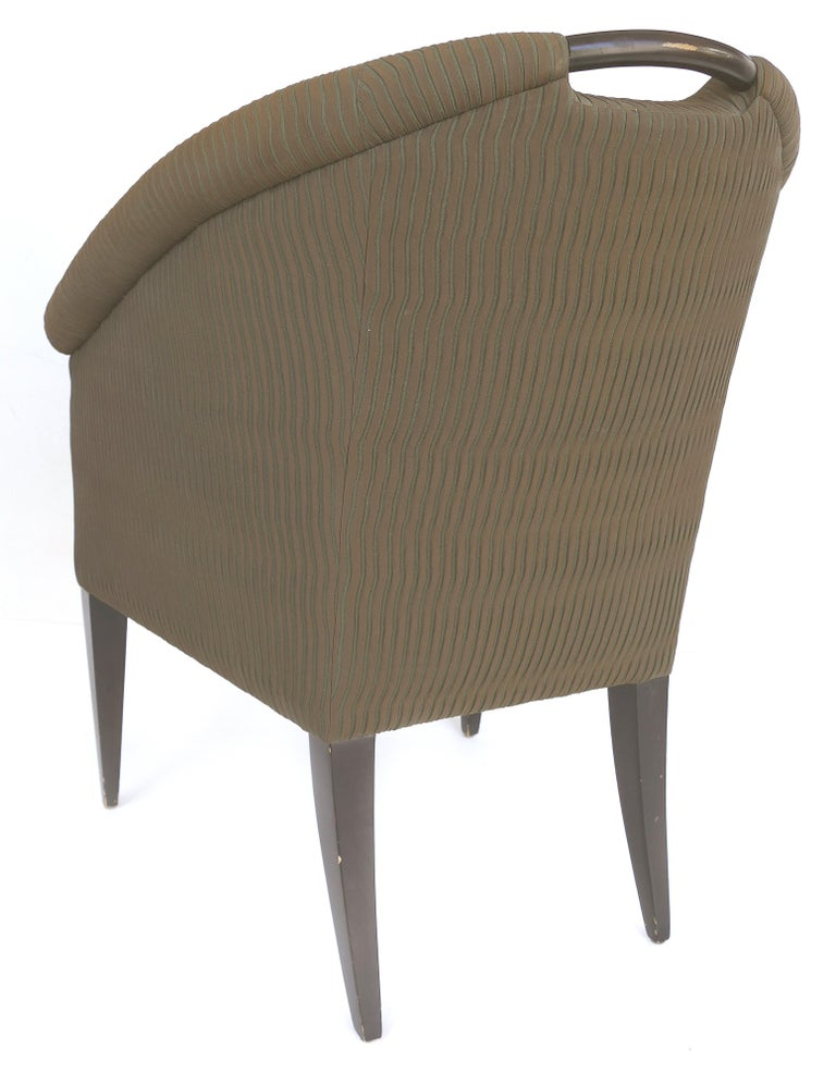 Donghia Upholstered Club Chairs with Wood Handles In Good Condition For Sale In Miami, FL