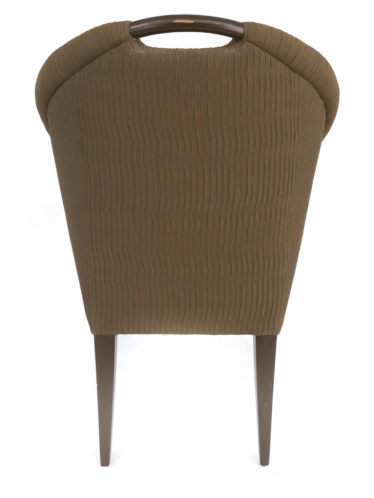 Contemporary Donghia Upholstered Club Chairs with Wood Handles For Sale