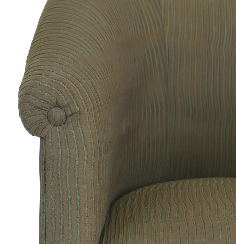 Fabric Donghia Upholstered Club Chairs with Wood Handles For Sale