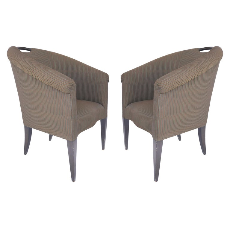 Donghia Upholstered Club Chairs with Wood Handles For Sale