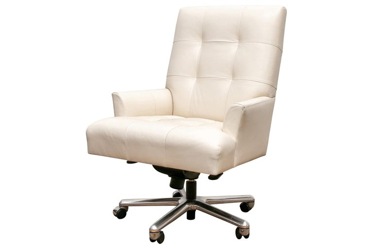 Donghia White Leather Executive Chair
