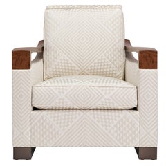 Donghia Woodbridge Club Chair in Cream Cotton Upholstery with Geometric Pattern