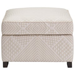 Donghia Woodbridge Ottoman in Cream Cotton Upholstery with Geometric Pattern