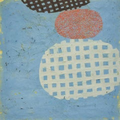 Baby Face (Abstract Encasutic Mixed Media in Pale Blue, Orange, Charcoal)