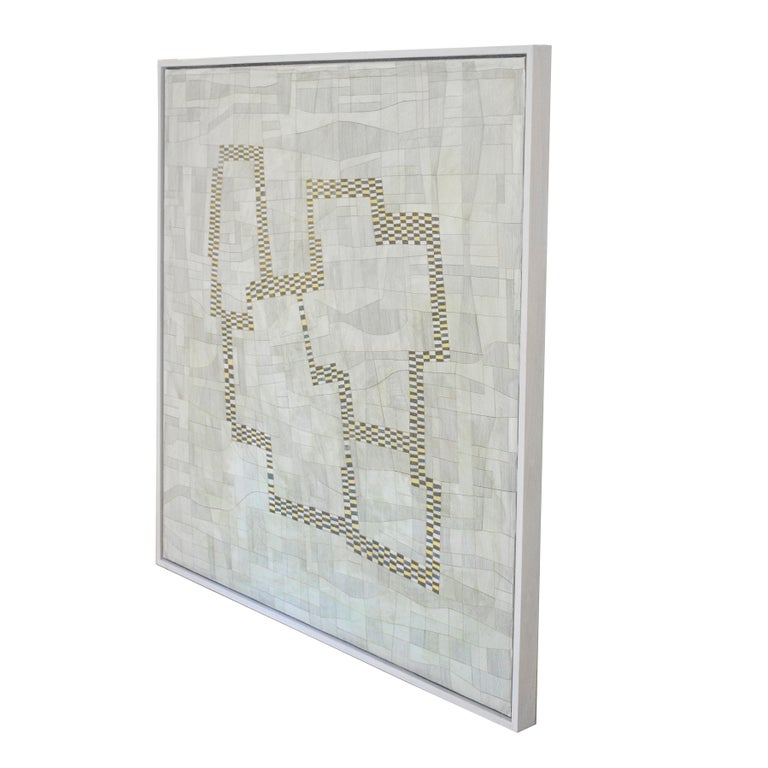 Dorothy (Abstract Geometric Painting with Neutral Beige & Light Green Palette)  - Gray Abstract Painting by Donise English