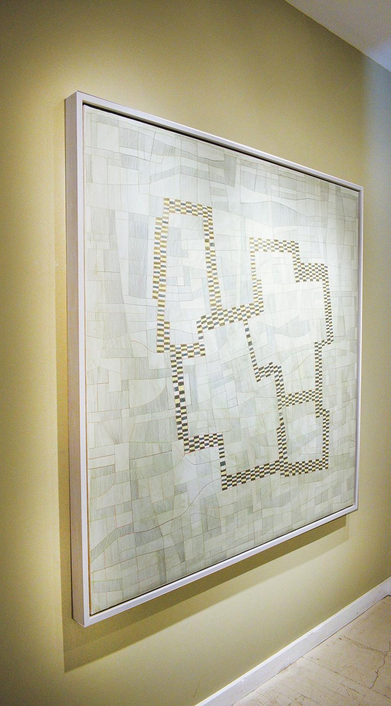 Large abstract geometric painting with a neutral palette of beige, cream, and light green with accents of yellow, white, and black