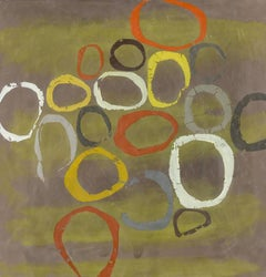 Herd (Abstract Encaustic Painting Panel in Olive Green, Graphic Orange Circles)