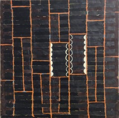 Hostess (Contemporary Abstract Painting on Panel in Dark Brown with Orange Grid)