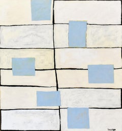 Left & Right Grid (Contemporary Large Abstract Panting with Pale Blue Squares)