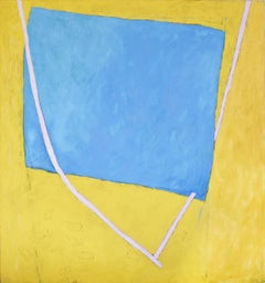Nan's Lair (Large Abstract Geometric Painting in Bright Yellow, Blue, & Pink)