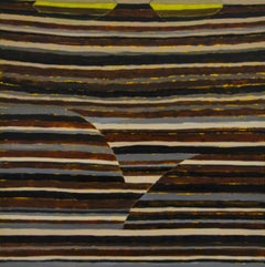 Stella (Contemporary Encaustic Painting with Dark Brown and Grey Stripes)