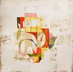 White What's Left (Contemporary Abstract Painting with Colorful Paper Collage)
