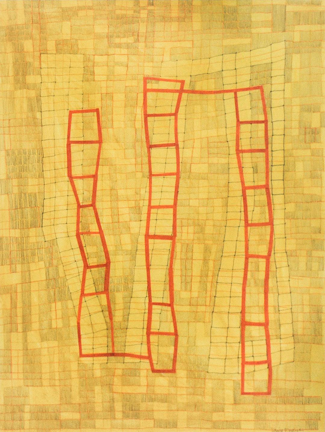 Yellow & Red Grid (Abstract Geometric Mixed Media Painting on Paper, Framed)