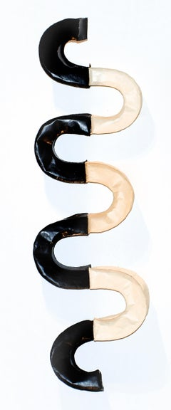Snakish (Curvy Abstract Minimalist Encaustic Wall Sculpture in Black and White)