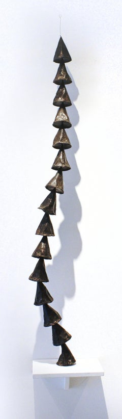 Untitled Black Cones (Tall and Narrow Monochromatic Paper and Wax Sculpture)