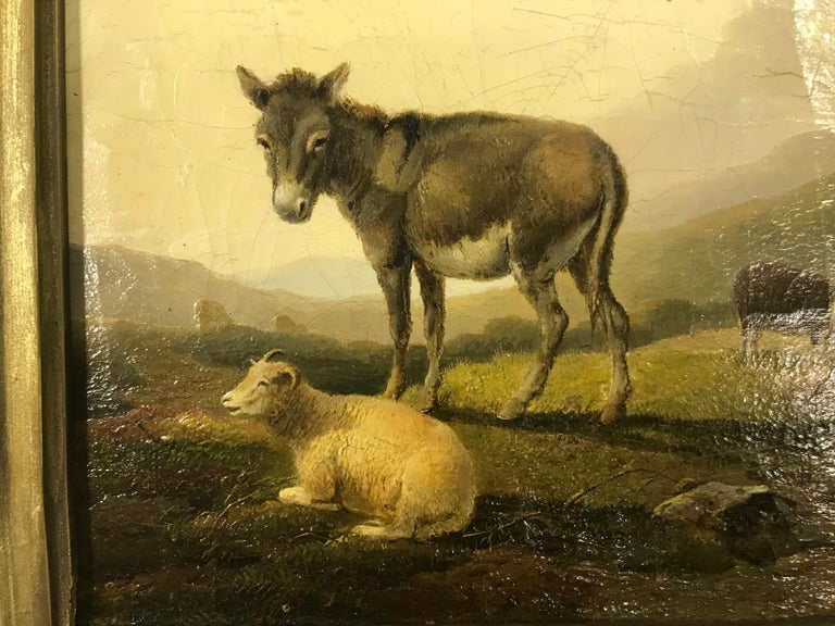 English 'Donkey and Sheep in a Landscape' by Francis D. Traies '1826-1857', England For Sale