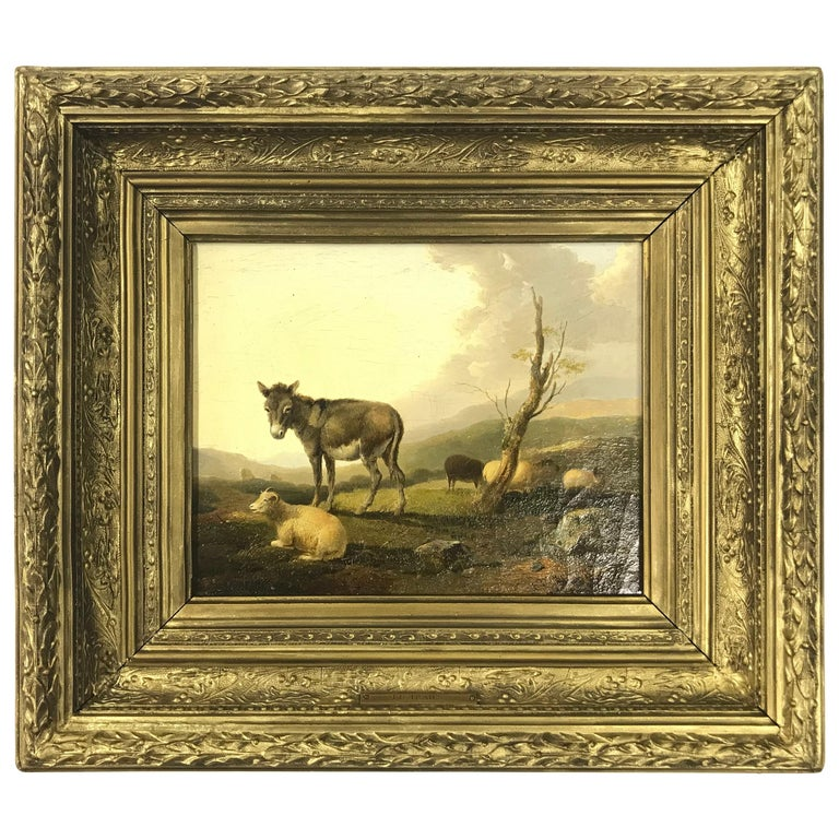 'Donkey and Sheep in a Landscape' by Francis D. Traies '1826-1857', England For Sale
