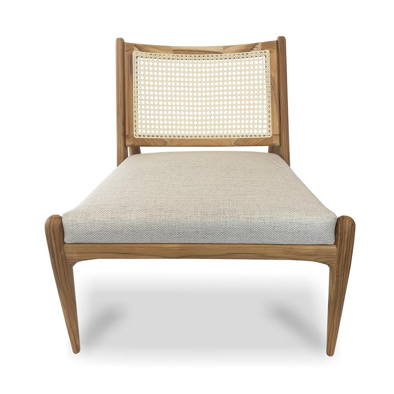 The Donna armchair has a solid wood frame that supports a perfectly shaped cane-back. The seat cushion is covered in a beautiful light fabric.....In stock!!!