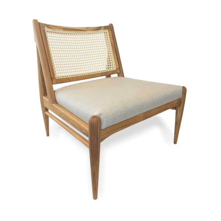 Brazilian Donna Cane-Back Armchair in Teak Finish with Light Fabric Seat For Sale