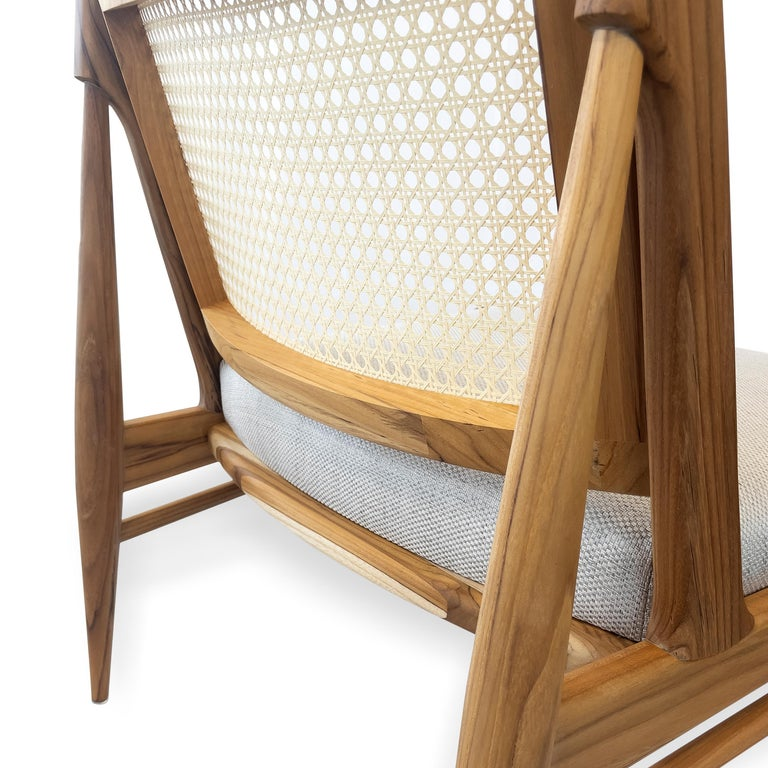 Donna Cane-Back Armchair in Teak Finish with Light Fabric Seat In New Condition For Sale In Miami, FL