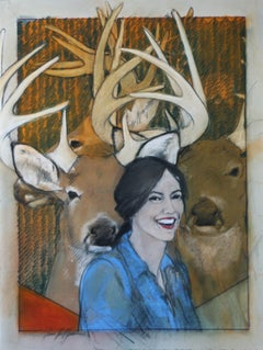 Crowned By Morning Light (woman, deer, cowgirl, antlers)