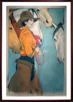 Horse Talk (cowgirl, horses, joyful connection, light blue, orange, red)