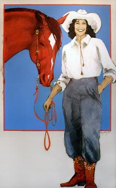 Prairie Rose (cowgirl, horse, blue, red)
