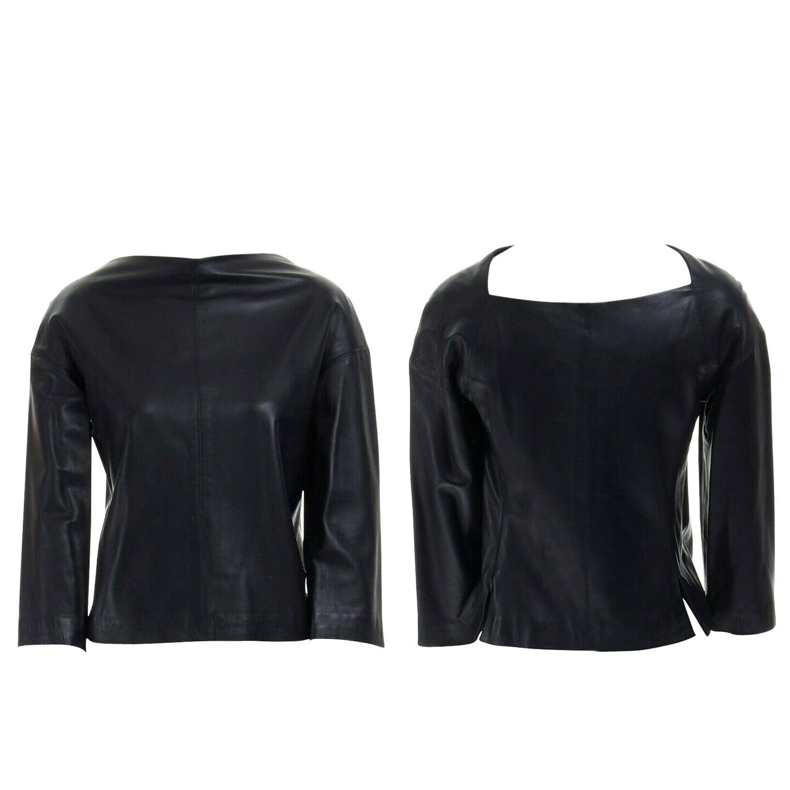 DONNA KARAN 100% lambskin leather wide angular neckline 3/4 sleeves top US4 S