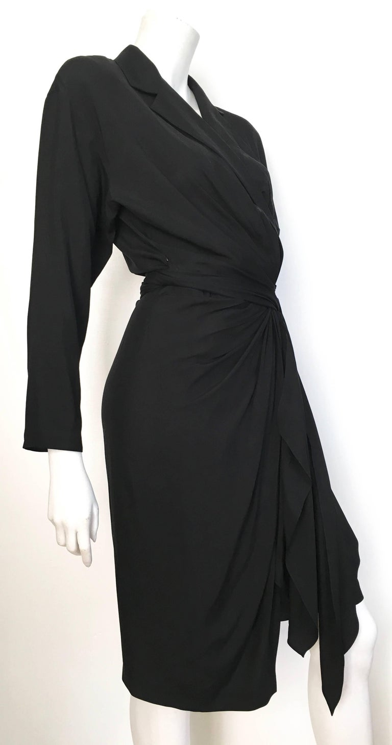 Donna Karan 1980s Black Silk Wrap Dress Size 8. In Excellent Condition For Sale In Atlanta, GA