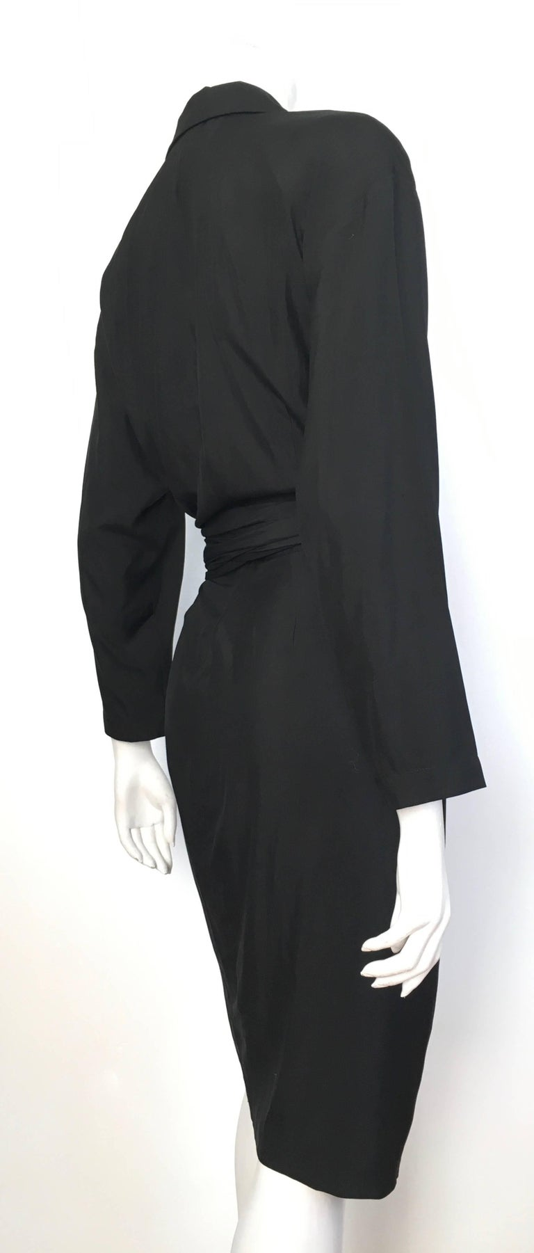 Women's or Men's Donna Karan 1980s Black Silk Wrap Dress Size 8. For Sale