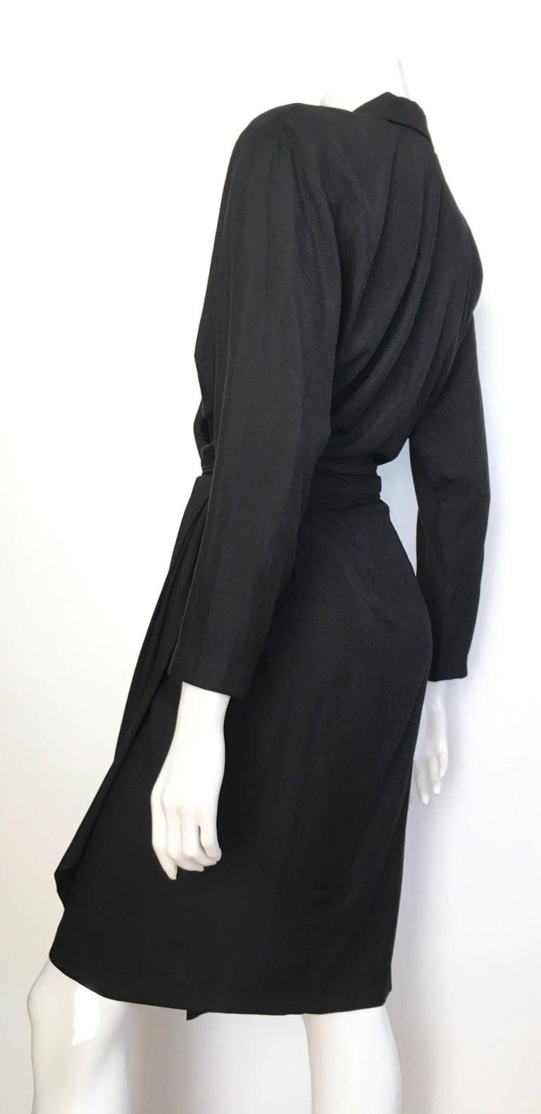 Donna Karan 1980s Black Silk Wrap Dress Size 8. For Sale 1