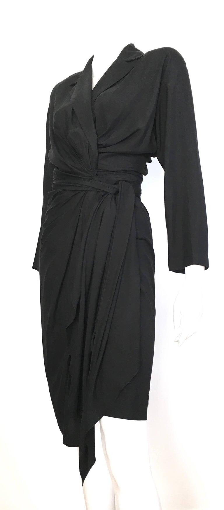 Donna Karan 1980s Black Silk Wrap Dress Size 8. For Sale 2