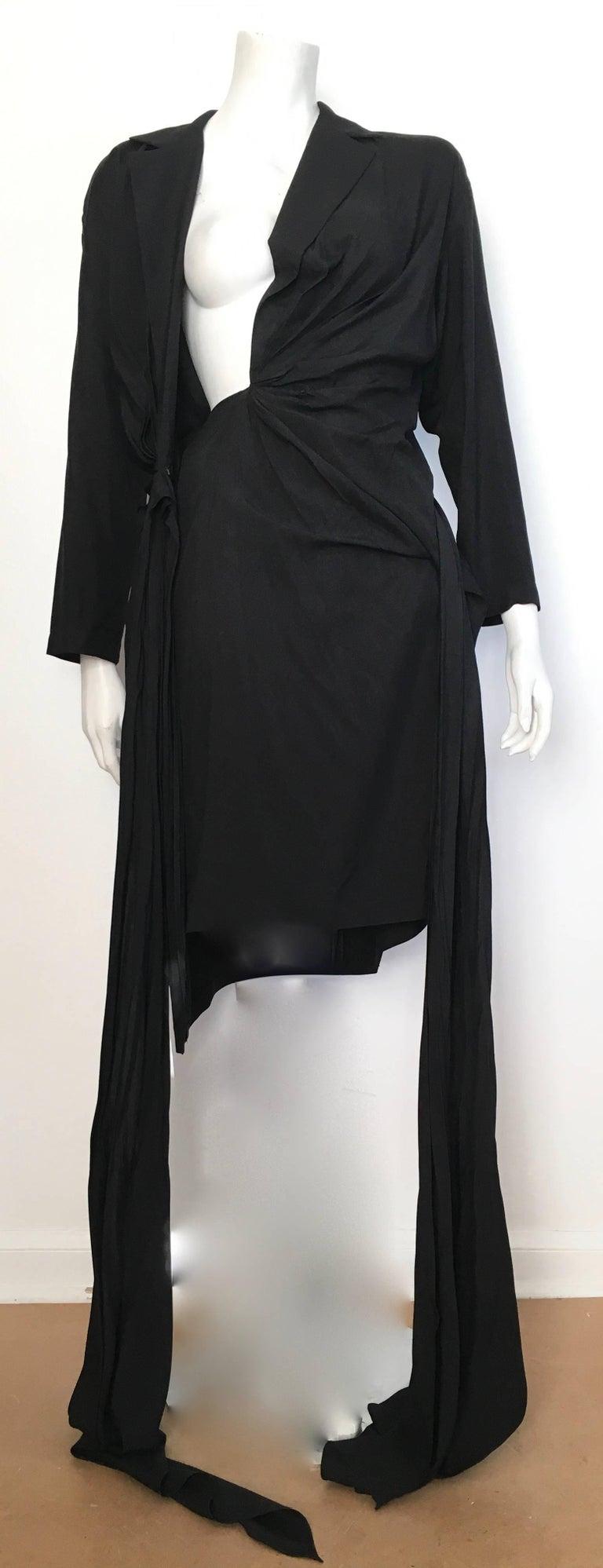 Donna Karan 1980s Black Silk Wrap Dress Size 8. For Sale 3