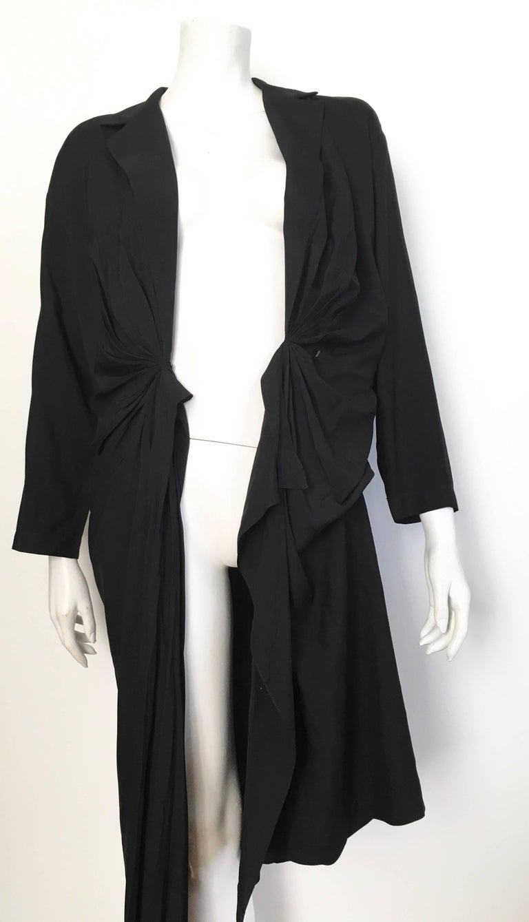 Donna Karan 1980s Black Silk Wrap Dress Size 8. For Sale 4
