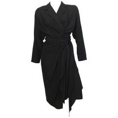 Donna Karan 1980s Black Silk Wrap Dress Size 8.