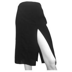 Donna Karan 1990s Black Sheer Skirt Size 8, made in Italy.