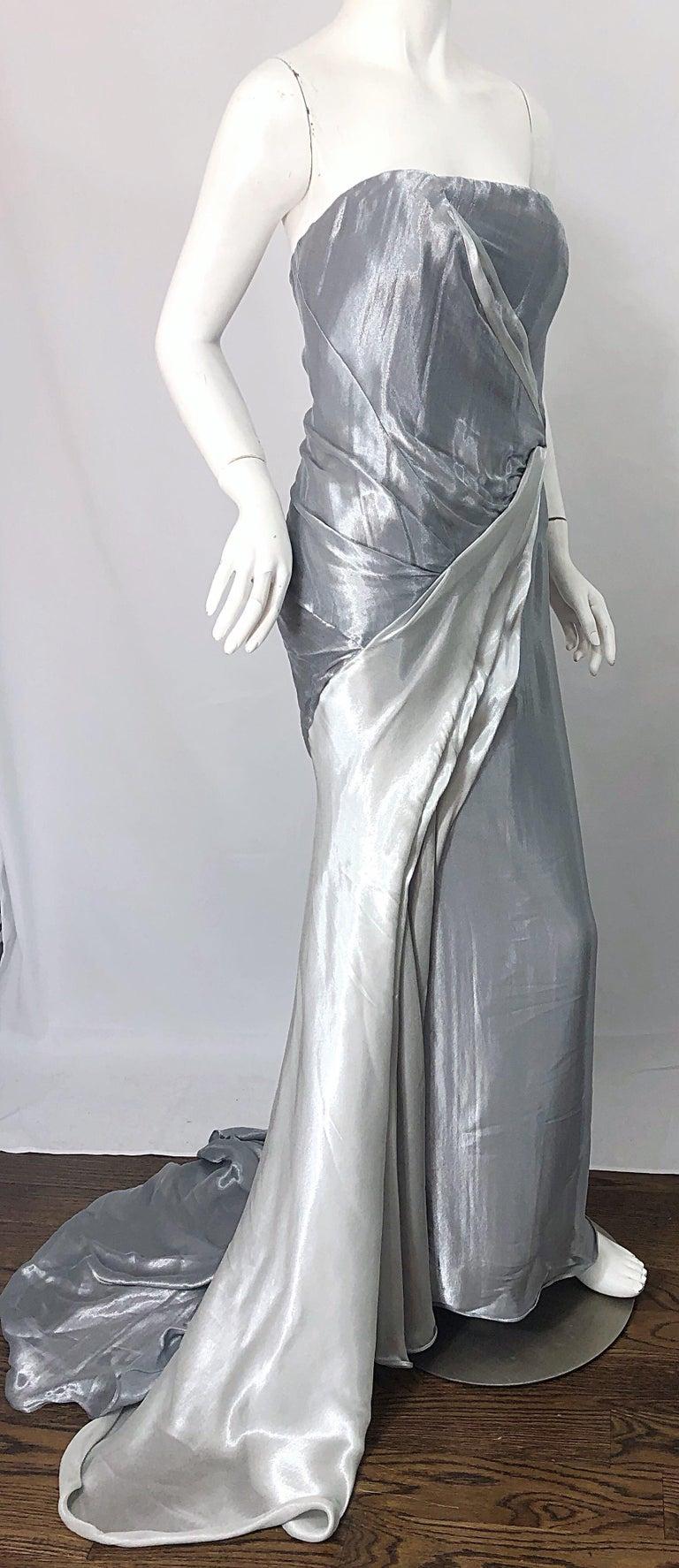Donna Karan 1990s Size 4 Silver Grecian Metallic Strapless Vintage Silk 90s Gown For Sale 6